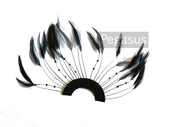 Свадьба - Black Half Circle Feather Applique (1 Appliqué)  DIY craft item for 1920s millinery, flapper masks, costume headbands and hair clips
