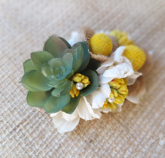 Hochzeit - rustic wedding hair piece, succulent hair accessory, billy button bridal hairpiece, yellow cream floral hair clip, bridal, wildflowers