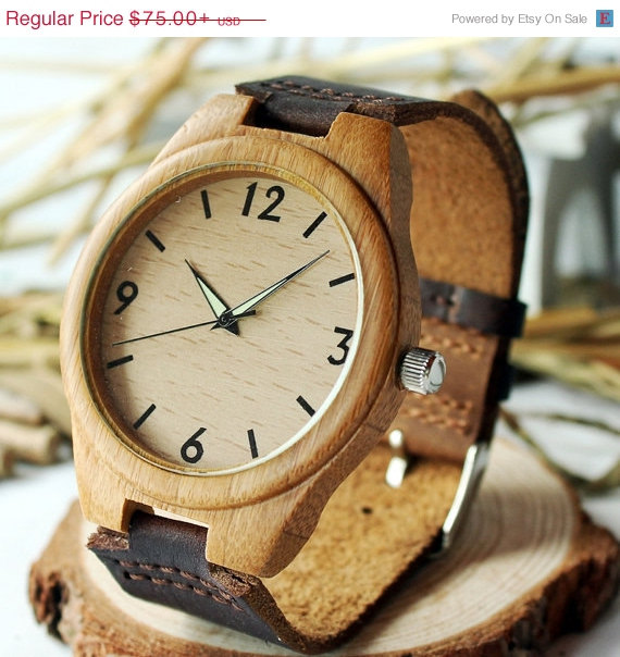 Mariage - SALE Personalizable Minimalist Bamboo Wooden Watch with Genuine Leather Strap ,mens watch, groomsmen gift, wood watch, men's watc