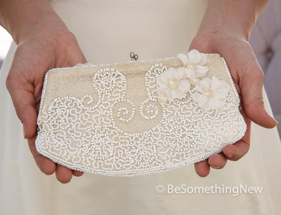 Свадьба - Ivory Up-cycled Vintage Beaded Clutch Wedding Accessory with Vintage Flowers, Bridal Accessories, Weddings Beaded Vintage Handbag