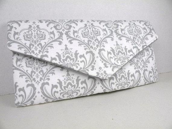 Свадьба - Envelope Clutch/Evening Bag/Purse/Wedding/Bridesmaid Gift--Gray (Storm) & White-MADISON Damask
