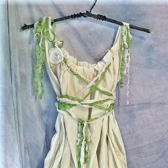 Свадьба - Mori Girl Gown Woodland Bridal Alternative Wedding Dress Pixie Custom Boho Cottage Corset Birdcage Hem Womens Tattered