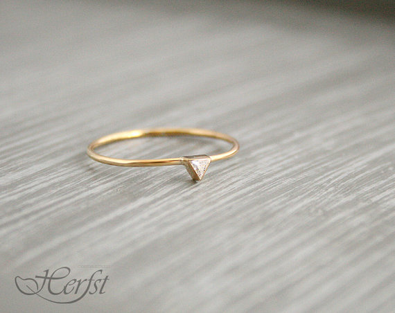 14k triangle diamond ring diamond engagement ring wedding ring 14k gold handmade - Handmade Wedding Rings