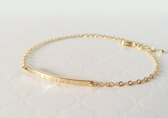 Hand Stamped Name Plate Thin Gold Bar Bracelet Dainty Initial Charm Personalized Bridesmaid Gift Holiday
