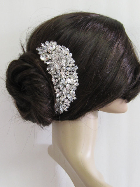 Wedding Pearl Hari Comb Bridal Hair Large Crystal Accessories