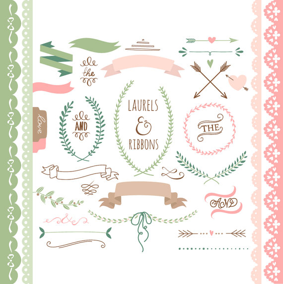 Wedding - Laurels clipart, Ribbons, Wreaths, Banners, Boarders, Dividers, Arrows. Clip art for scrapbooking, wedding invitations, Small Commercial Use