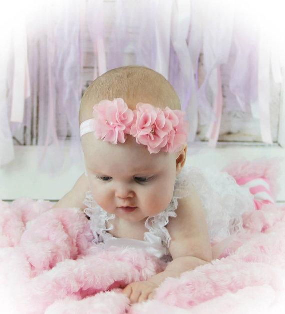 Pink Baby Girl Headband Spring Flower Headband Newborn Headband Easter  Headband Chiffon flower 1st Birthday Headband Photo Prop Wedding a54f5d61889