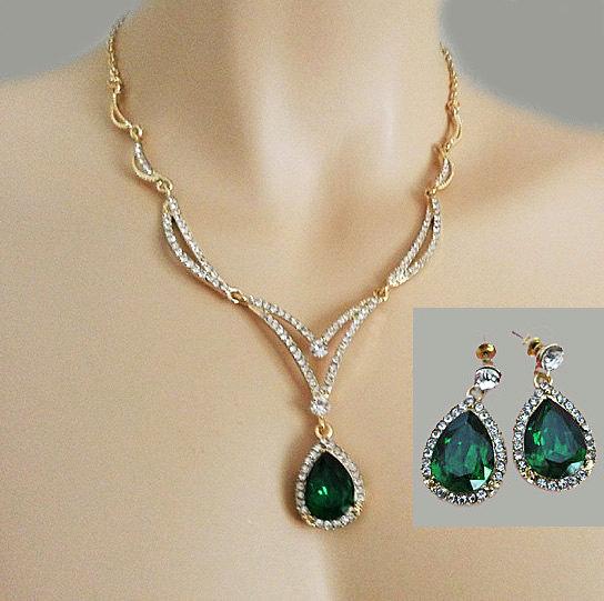 Green Rhinestone Necklace Emerald Jewelry Set Green Bridal Jewelry