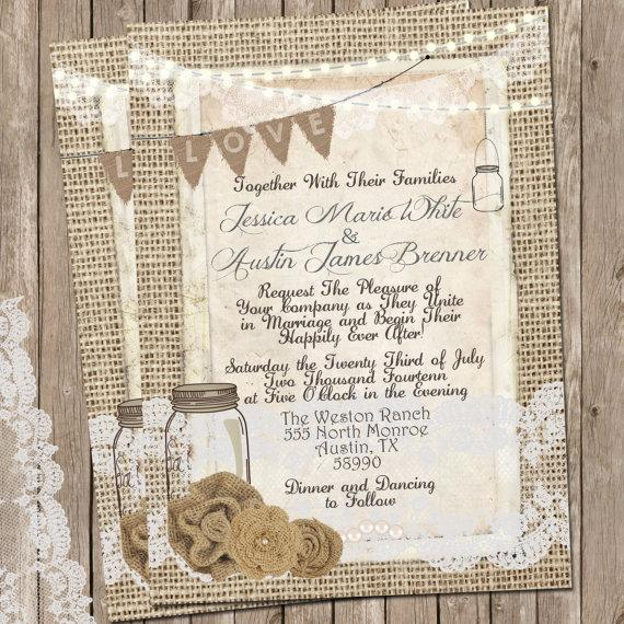 rustic burlap and lace wedding invitation invite mason jar printable digital file personalized 5x7 - Burlap Wedding Invitations
