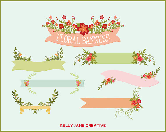 Wedding graphics lovely floral banners perfect for creating wedding