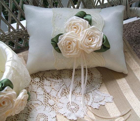 Wedding - Wedding  Ring Bearer Pillow AMBER ROSE Available in Ivory or white