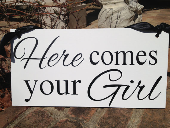 Hochzeit - Weddings signs, HERE COMES your GIRL, flower girl, ring bearer, photo props, single sided, 8x16