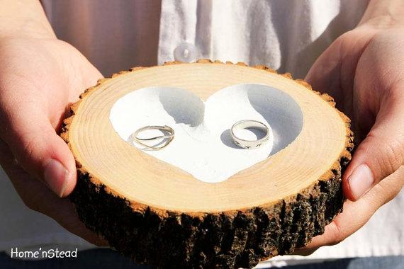 Wedding - Rustic Wedding Ring Pillow Log Ring Dish Engraved Heart