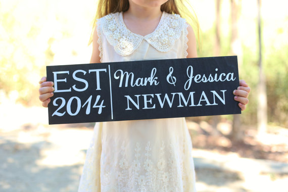 Wedding - Personalized Flower Girl Ring Bearer Wedding Family Sign (Item Number MHD20000)