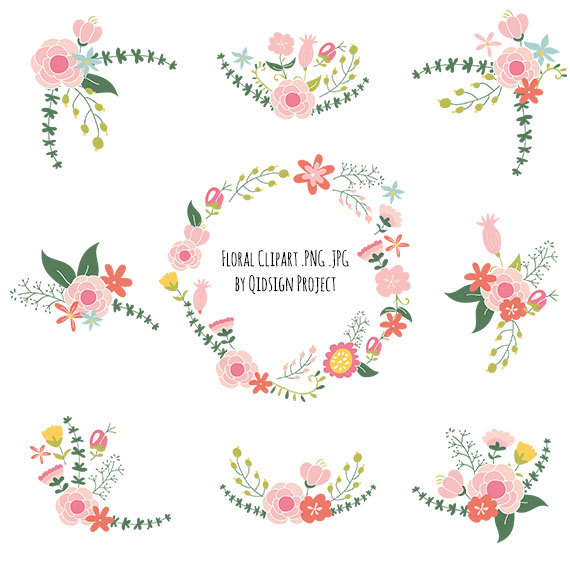 Flower wedding. Floral clipart bouquet frame