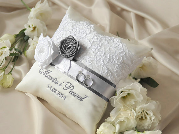 Wedding - Lace Wedding Pillow, Grey lace Wedding Ring Pillow,   Ring Bearer Pillow Embroidery Names