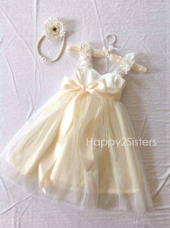 Flower Girl Dresses Ivory Or White Dress Bridesmaid Formal Birthday Toddlers Girls