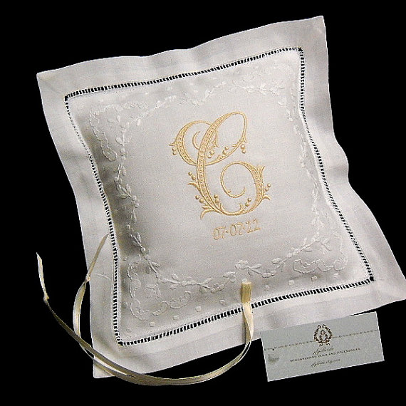 Monogram Wedding Ring Bearer Pillow: Monogram Ring Bearer Pillow Embroidered With Initial And
