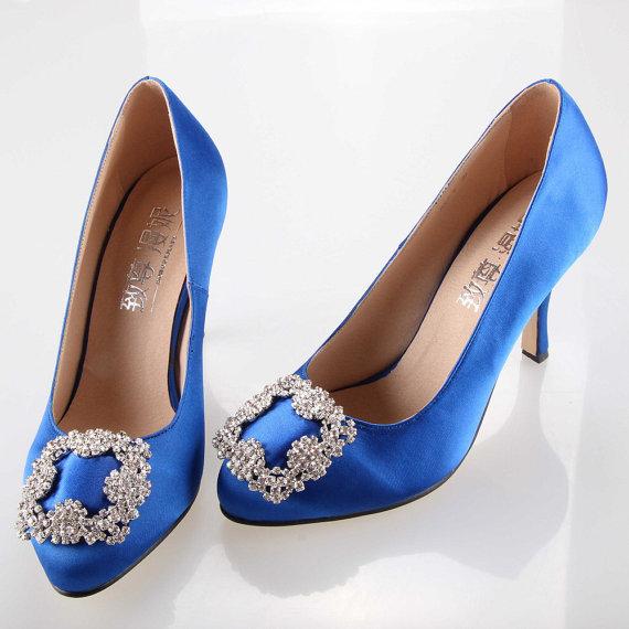 Свадьба - Sweet royal blue bow crystal silk satin shoes , wedding princess bridal shoes bridalmaids shoes crystal clip