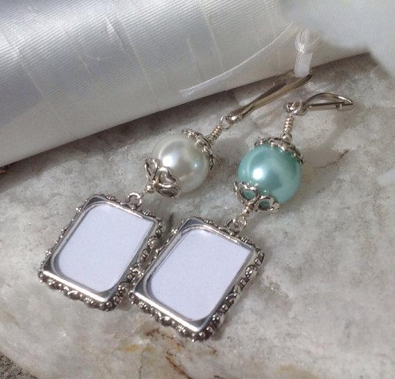 Wedding - Wedding memory photo charm. Bridal bouquet charm in white or blue pearl.