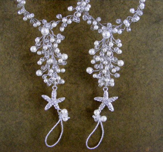 Mariage - starfish beach wedding barefoot sandals - destination wedding barefoot sandals - bridal foot jewelry anklet