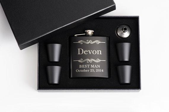 Wedding - 4, Personalized Groomsmen Gift, Flasks, Engraved Flask Set, Groomsmen Flasks, 4 Flask Sets