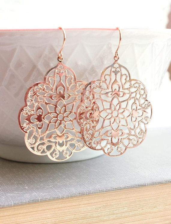 Wedding - Rose Gold Earrings Big Lace Filigree Modern Large Dangle Pink Gold Spanish Style Boho Bridal Jewelry Bridesmaids Gift For Girlfriend