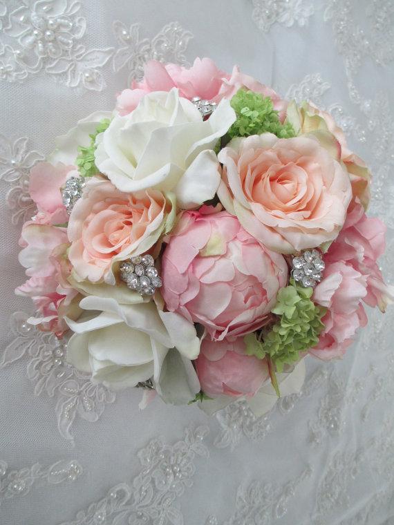 Silk pink peony peach rose bridal wedding bouquet 2216370 weddbook silk pink peony peach rose bridal wedding bouquet mightylinksfo