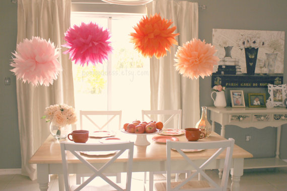 12 Tissue Pom Poms  Home Decor  Wedding Decor  Itu0027s A Girl Summer Wedding   Girl Baptism   Chic Decor   Orange And Pink Wedding