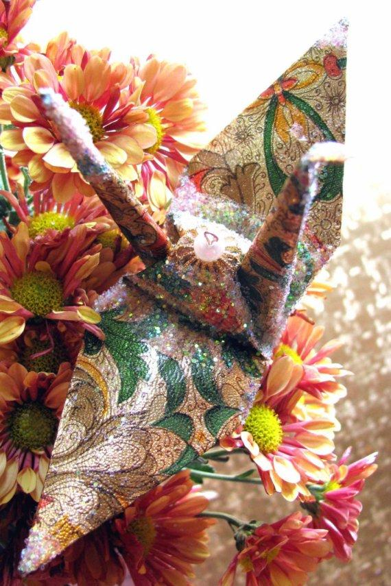 زفاف - Autumn Arrival Peace Crane Christmas Ornament Wedding Cake Topper Party Favor Origami Japanese Paper Bird