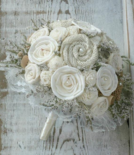 Mariage - Lace Rustic Cream Ivory Bride's Alternative Wedding Bouquet - Sola Wood, Wildflowers, Paper Flowers, Fabric  Flowers, Burlap Rosettes