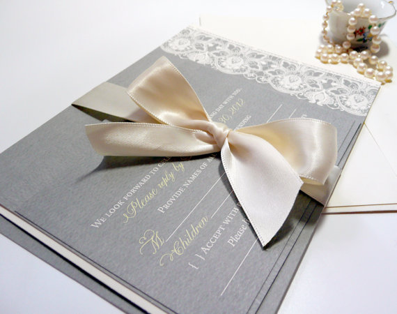 Vintage Lace Wedding Invitation In Yellow And Grey, The Taylor Sample With  Ribbon