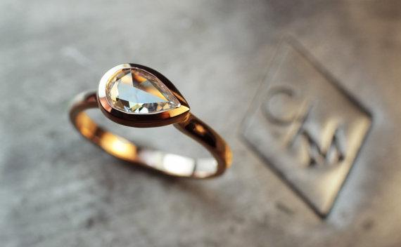 Hochzeit - White Diamond Engagement Ring - Pear Shaped White Diamond in 14k Rose Gold Ring