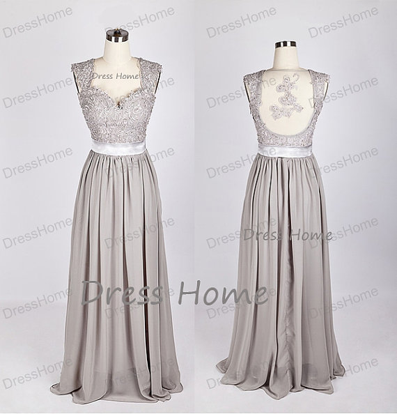 Grey Lace Prom Dress/Long A Line Prom Dress/Open Back Chiffon Prom ...