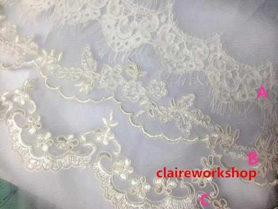 Свадьба - Custom length soft tulle flower lace wedding veil IVORY / White bride wedding veils floor length fingertip length church length any length