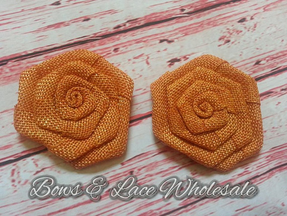 "Mariage - Large 3"" Orange Burlap Rosette's, Rustic, Fall, DIY, Crafts, Bridal Bouquet's, Headbands and more"