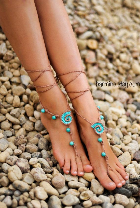Beach Wedding Seashells Tan And Aqua Crochet Bridal Barefoot Sandals Shoes Foot Jewelry Turquoise Gemstone Anklet