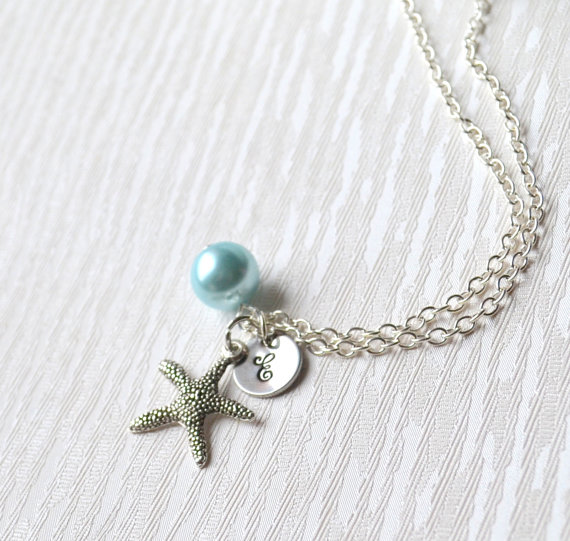 Set Of Nine 9 Beach Weddings Starfish Necklaces Personalized