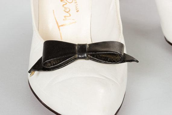 Свадьба - Vintage Black Bow Shoe Clips