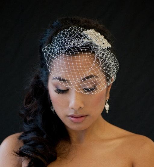 Свадьба - Petite Birdcage Veil, Birdcage Veil, 7 Inch Birdcage Veil, Wedding Veil - DENISE