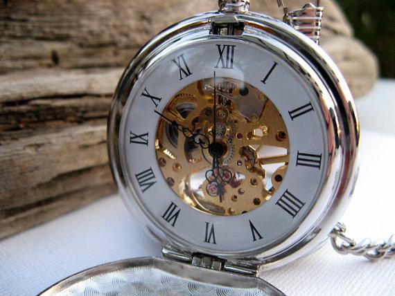 Свадьба - Pocket Watch Engraved Silver Roman Mechanical - Double Cover - Groomsmen, Wedding, Men, Victorian Steampunk Era - Item MPW66