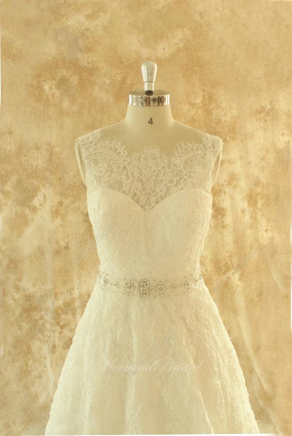 Свадьба - Ivory A line lace wedding dress,bridal gown with elegant beading sash