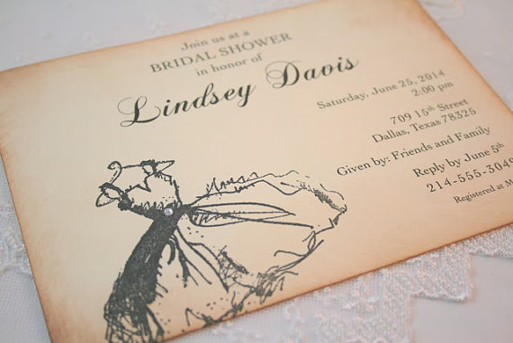 Bridal Invitations Wedding Shower Invites Vintage Dress In Black