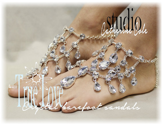 CRYSTAL Barefoot Sandals Bridal Foot Jewelry Sandle Destination Wedding Shoes Beach By Catherine Cole Studio SJ5