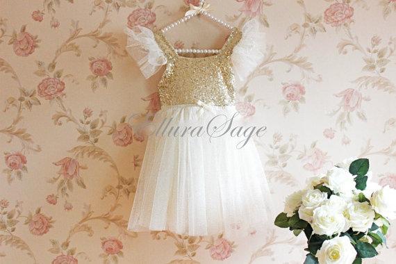 Wedding - Ivory Tutu Dress, Ivory Flower Girl Dress, Wedding Flower Girl Dress, Baby Girl Birthday Party Dress, Ivory Sparkle Princess Dress,Christmas