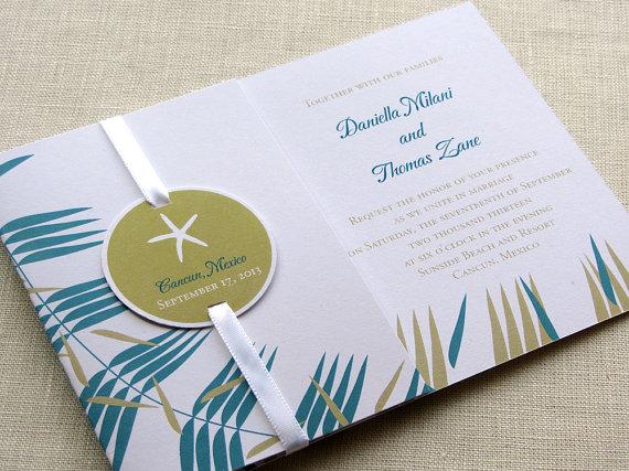 Mariage - Starfish Wedding Invitation Sample - Beach Wedding Invitation with Enclosures Booklet - Pocketfold Alternative