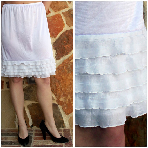 Mariage - SALE Dress Extender Slip White Tiered Ruffle: Available in black, cream, purple, bright pink, white, navy, brown, and turquoise.