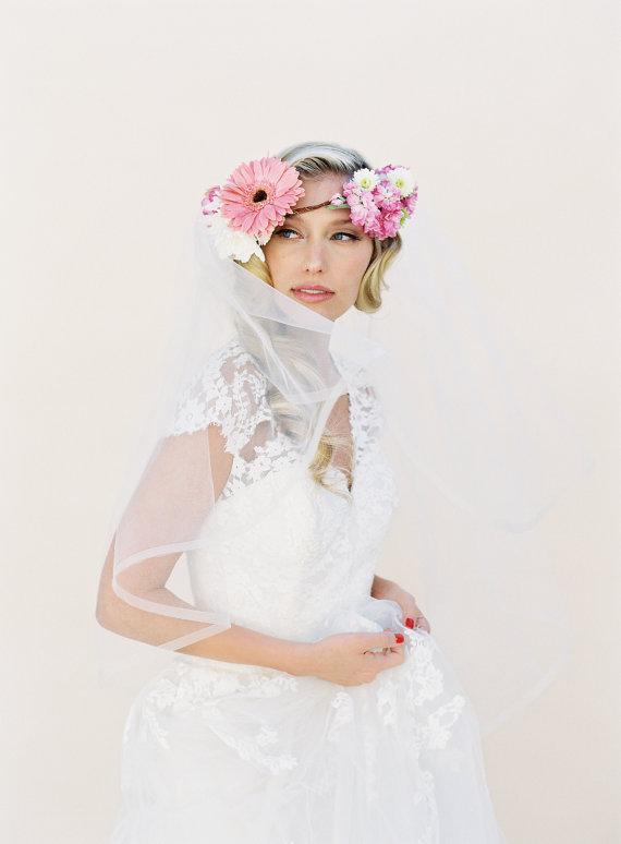 """Свадьба - Wedding Veil, Angel Horsehair Edge Wedding Veil, 2 Tier Simple Bridal Veil, Blusher Veil, Cathedral, Style: 1/2"""" Horsehair #1522"""