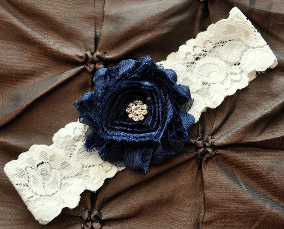 Wedding - Wedding Garter, Bridal Garter - Ivory Lace Garter, Toss Garter, Shabby Chiffon Navy Blue, Something Blue, Navy Garter, Wedding Garter Belt
