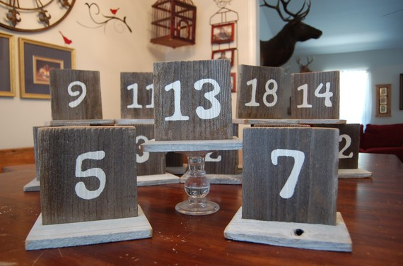 Wedding - Rustic Wood Table Numbers, Reception Seating Sign, Wooden Reception Decor, Wood Numbers, Great for Wedding, Anniversary or Party Decorations